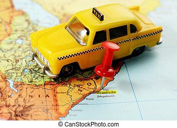 taxi, carte, mogadishu, somalie, afrique