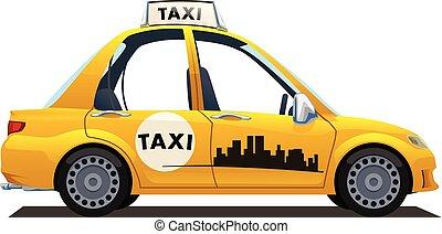 taxi, catoon, amarillo