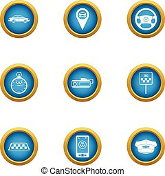 Taxi center icons set, flat style