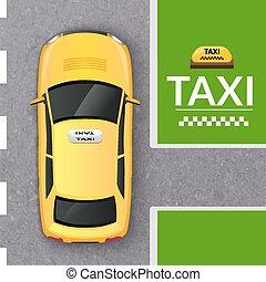 taxi, cima, cabina amarilla, bandera, vista