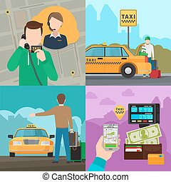 Taxi city transportation service concepts