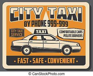 taxi, ciudad, cartel, vector, vendimia, transporte público