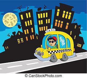 taxi, ciudad, silueta, conductor