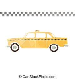 taxi, coche., amarillo