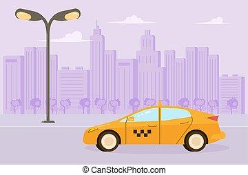 taxi, coche, amarillo