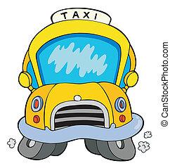 taxi, coche, caricatura