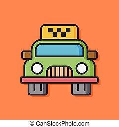 taxi, coche,  vector, icono