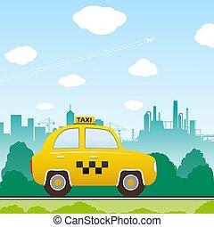 taxi, coche,  vector