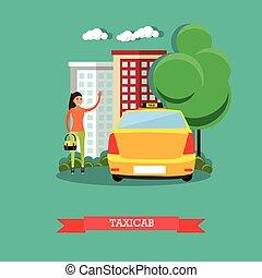 taxi, concept, illustration, plat, vecteur, conception