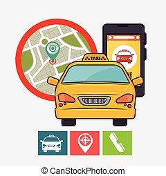 taxi, concept, service, téléphone portable, gps, icône