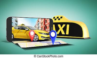 taxi, concept, transport, épingle, render, commander, modèle, ligne, jaune, téléphone, contrôleur, service, vert, navigation, internet, taxi, indicateur, 3d