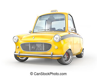 Taxi concept. Yellow retro taxi car isolated on a white. 3d illustration