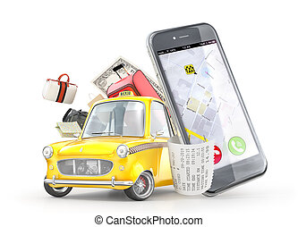 Taxi concept. Yellow retro taxi car near the phone with travel bags on a white background. 3d illustration