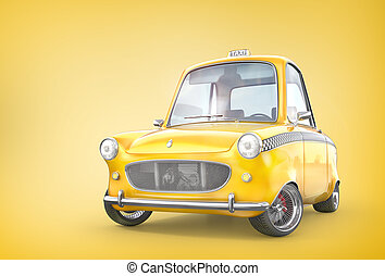 Taxi concept. Yellow retro taxi car on a yellow background. 3d illustration