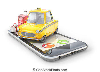Taxi concept. Yellow retro taxi car on the phone screen on white background. 3d illustration