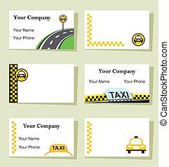 taxi, conjunto, empresa / negocio, seis, -, vector, tarjetas