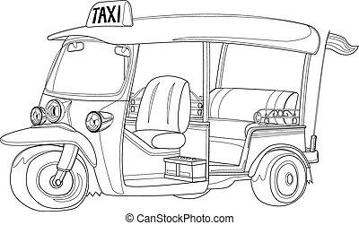 taxi, contour, noir, tuk-tuk, thaïlande, blanc