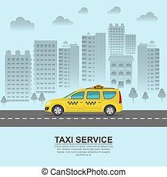 taxi, contre, fond