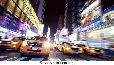 taxi, cuadrado, noche, york, tiempo, nuevo