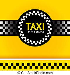 taxi, cuadrado, símbolo