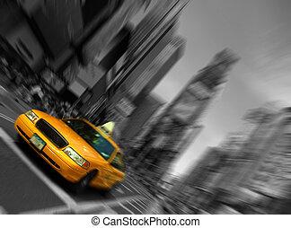 taxi de la ciudad de nueva york, mancha, foco, movimiento, tiempos cuadran