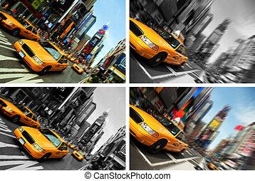 taxi, derékszögben, időmegállapítás, indítvány, york, elhomályosít, új