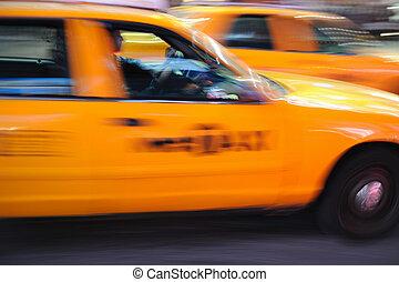 taxi, derékszögben, időmegállapítás, york, új, taxi