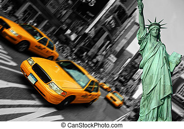 Taxi, derékszögben, Város, összpontosít, Időmegállapítás, indítvány,  York, elhomályosít, új