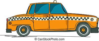 taxi, dessin animé, jaune