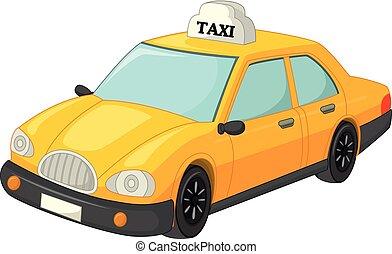 taxi, divertido, caricatura, amarillo