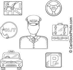 Taxi driver and service icons, sketch