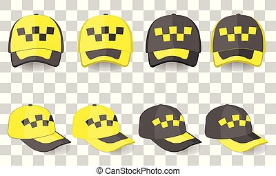 taxi driver cap set: hats in yellow and black colors stylized for taxi service