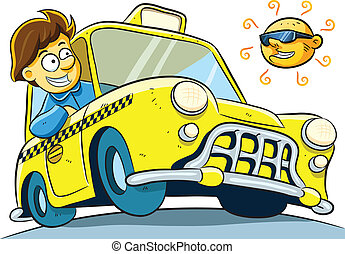 Taxi Driver - cartoon illustration of taxi driver at sunny...