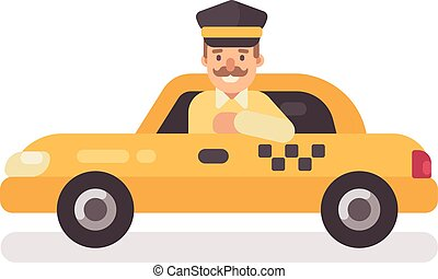 Taxi driver in a car. Profession flat character illustration