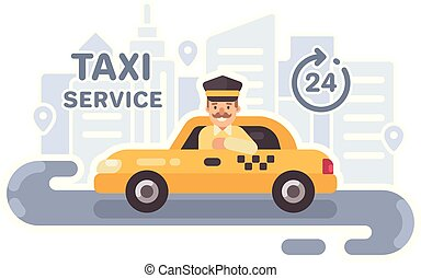 Taxi driver in a car. Taxi service flat vector illustration