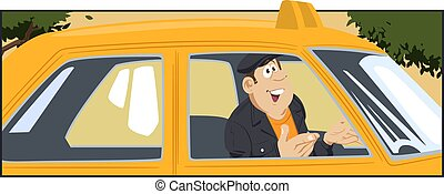 Taxi driver in car. Stock illustration
