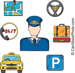 Taxi driver profession and service icons