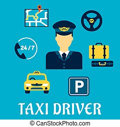 Taxi driver profession with service icons
