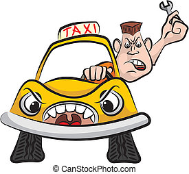 taxi driver - road rage - angry driver with wrench -...