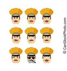 Taxi driver set emoji avatar. sad and angry face. guilty and sleeping. Cabbie sleeping emotion face. Cabdriver Vector illustration