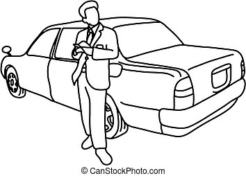 taxi driver with his car vector illustration sketch doodle hand drawn with black lines isolated on white background