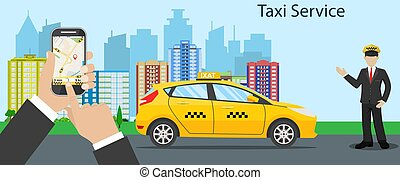 Taxi driver. yellow taxi