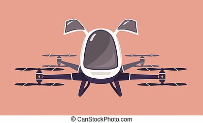 Taxi drone or passenger quadcopter. Flying futuristic rotor...