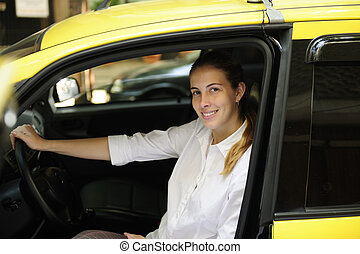 taxi, elle, chauffeur, femme, portrait, nouveau, taxi