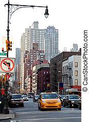 taxi, en, nueva york