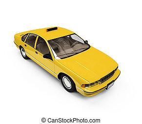 taxi, encima, whie, aislado, amarillo