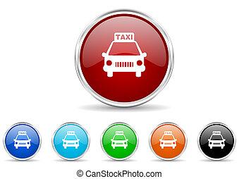 taxi, ensemble, icône