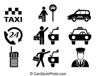 taxi, ensemble, icônes