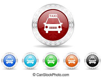 taxi, ensemble, noël, icône