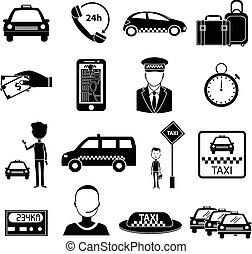 taxi, ensemble, service, icônes